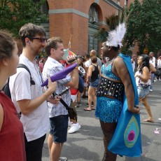 RU staff/artist interviewing Pride participants