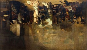 Inverted image of L'atelier du Peintre by Gustave Courbet, 1855